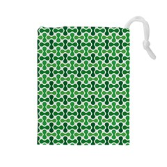 Green White Wave Drawstring Pouches (large)  by Alisyart
