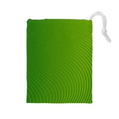 Green Wave Waves Line Drawstring Pouches (large)  by Alisyart
