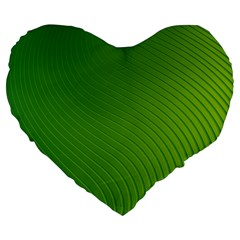 Green Wave Waves Line Large 19  Premium Flano Heart Shape Cushions by Alisyart
