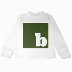 Square Alphabet Green White Sign Kids Long Sleeve T Shirts by Alisyart