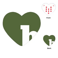 Square Alphabet Green White Sign Playing Cards (heart)