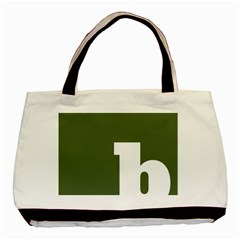 Square Alphabet Green White Sign Basic Tote Bag (two Sides) by Alisyart