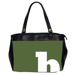 Square Alphabet Green White Sign Office Handbags (2 Sides)  by Alisyart