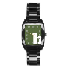 Square Alphabet Green White Sign Stainless Steel Barrel Watch by Alisyart