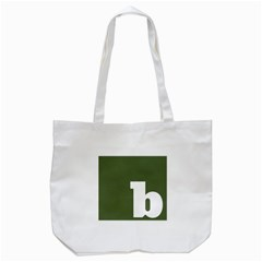 Square Alphabet Green White Sign Tote Bag (white) by Alisyart