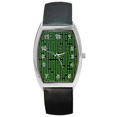 Pipes Green Light Circle Barrel Style Metal Watch by Alisyart