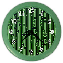 Pipes Green Light Circle Color Wall Clocks
