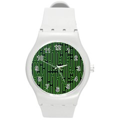 Pipes Green Light Circle Round Plastic Sport Watch (m) by Alisyart