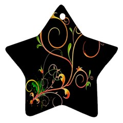 Flowers Neon Color Ornament (star)