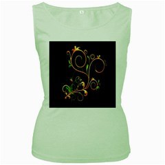 Flowers Neon Color Women s Green Tank Top by Simbadda