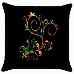 Flowers Neon Color Throw Pillow Case (black) by Simbadda