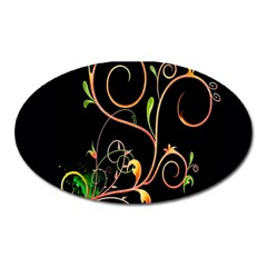 Flowers Neon Color Oval Magnet by Simbadda