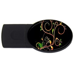 Flowers Neon Color Usb Flash Drive Oval (4 Gb) by Simbadda