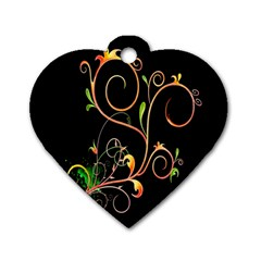 Flowers Neon Color Dog Tag Heart (one Side) by Simbadda