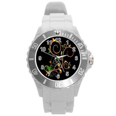 Flowers Neon Color Round Plastic Sport Watch (l) by Simbadda