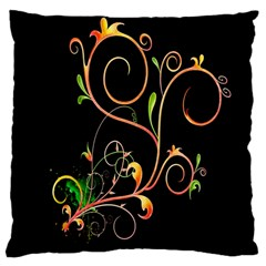 Flowers Neon Color Large Cushion Case (two Sides) by Simbadda