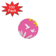 Spring Flower Floral Sunflower Bird Animals White Yellow Pink Blue 1  Mini Buttons (100 Pack)  by Alisyart
