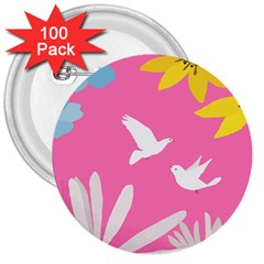 Spring Flower Floral Sunflower Bird Animals White Yellow Pink Blue 3  Buttons (100 Pack)