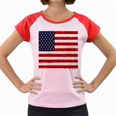 Flag United States United States Of America Stripes Red White Women s Cap Sleeve T Shirt by Simbadda