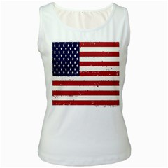 Flag United States United States Of America Stripes Red White Women s White Tank Top by Simbadda