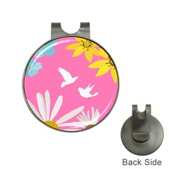 Spring Flower Floral Sunflower Bird Animals White Yellow Pink Blue Hat Clips With Golf Markers