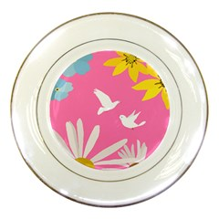 Spring Flower Floral Sunflower Bird Animals White Yellow Pink Blue Porcelain Plates