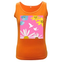 Spring Flower Floral Sunflower Bird Animals White Yellow Pink Blue Women s Dark Tank Top by Alisyart