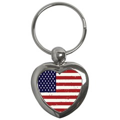 Flag United States United States Of America Stripes Red White Key Chains (heart)  by Simbadda