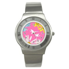 Spring Flower Floral Sunflower Bird Animals White Yellow Pink Blue Stainless Steel Watch by Alisyart