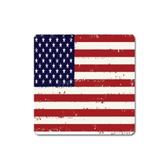 Flag United States United States Of America Stripes Red White Square Magnet by Simbadda