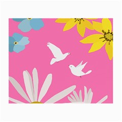 Spring Flower Floral Sunflower Bird Animals White Yellow Pink Blue Small Glasses Cloth (2 Side) by Alisyart