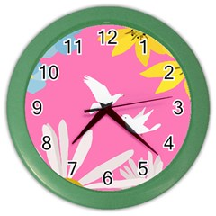 Spring Flower Floral Sunflower Bird Animals White Yellow Pink Blue Color Wall Clocks by Alisyart
