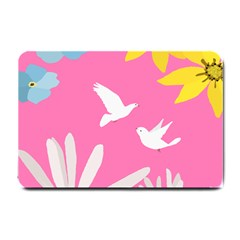 Spring Flower Floral Sunflower Bird Animals White Yellow Pink Blue Small Doormat  by Alisyart