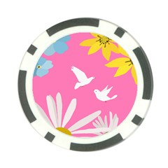 Spring Flower Floral Sunflower Bird Animals White Yellow Pink Blue Poker Chip Card Guard by Alisyart