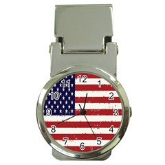 Flag United States United States Of America Stripes Red White Money Clip Watches by Simbadda