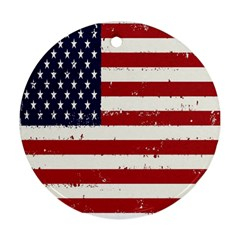 Flag United States United States Of America Stripes Red White Round Ornament (two Sides) by Simbadda