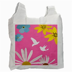 Spring Flower Floral Sunflower Bird Animals White Yellow Pink Blue Recycle Bag (one Side) by Alisyart