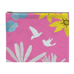 Spring Flower Floral Sunflower Bird Animals White Yellow Pink Blue Cosmetic Bag (xl)