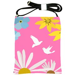 Spring Flower Floral Sunflower Bird Animals White Yellow Pink Blue Shoulder Sling Bags by Alisyart