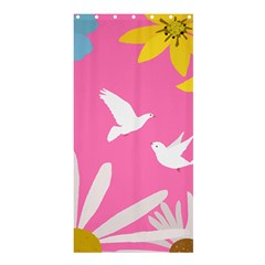 Spring Flower Floral Sunflower Bird Animals White Yellow Pink Blue Shower Curtain 36  X 72  (stall)  by Alisyart