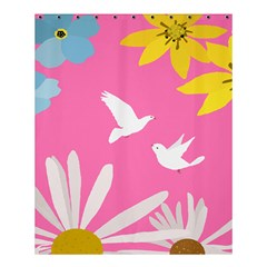 Spring Flower Floral Sunflower Bird Animals White Yellow Pink Blue Shower Curtain 60  X 72  (medium)