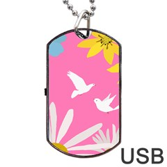 Spring Flower Floral Sunflower Bird Animals White Yellow Pink Blue Dog Tag Usb Flash (one Side) by Alisyart