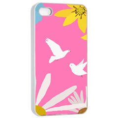 Spring Flower Floral Sunflower Bird Animals White Yellow Pink Blue Apple Iphone 4/4s Seamless Case (white) by Alisyart