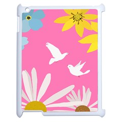 Spring Flower Floral Sunflower Bird Animals White Yellow Pink Blue Apple Ipad 2 Case (white) by Alisyart