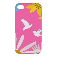 Spring Flower Floral Sunflower Bird Animals White Yellow Pink Blue Apple Iphone 4/4s Hardshell Case by Alisyart