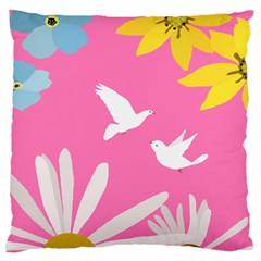 Spring Flower Floral Sunflower Bird Animals White Yellow Pink Blue Large Cushion Case (one Side)