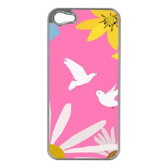 Spring Flower Floral Sunflower Bird Animals White Yellow Pink Blue Apple Iphone 5 Case (silver) by Alisyart