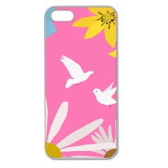 Spring Flower Floral Sunflower Bird Animals White Yellow Pink Blue Apple Seamless Iphone 5 Case (clear)