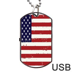 Flag United States United States Of America Stripes Red White Dog Tag Usb Flash (two Sides) by Simbadda
