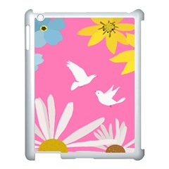 Spring Flower Floral Sunflower Bird Animals White Yellow Pink Blue Apple Ipad 3/4 Case (white)